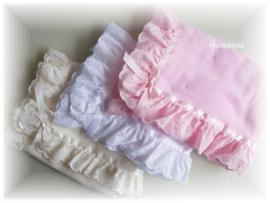 Fleece doopdeken met broderie  roze wit of ivoor