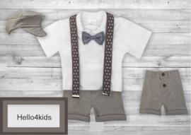 Kostuumpje korte broek met bretels Grijs