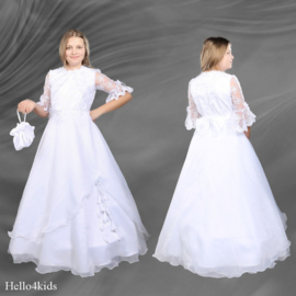 Witte kanten communie jurk met bijpassend tasje Maud
