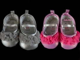 Baby Bruidsmeisjes,doopschoentjes roze of zilver (tule)
