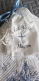 doopdeken heilig kruis blauw grijs gratis naam en zakje.