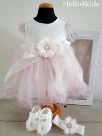 baby feest setje roze ivoor Visara 12-18 mnd