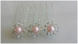 3x stras haarpin - roze parel