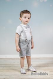 Setje korte broek met bretels grijs