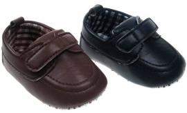 Donkerblauw of bruin baby feest schoentje