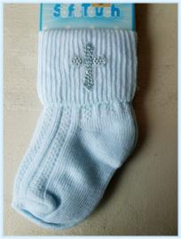 Hemels blauwe doop sokjes Heilig kruis