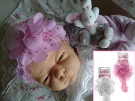 Baby haarband wit of roze 0 t/m 9 mnd (HB72)