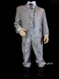 Zilver grijs jongens-kinder kostuum  krijtstreep
