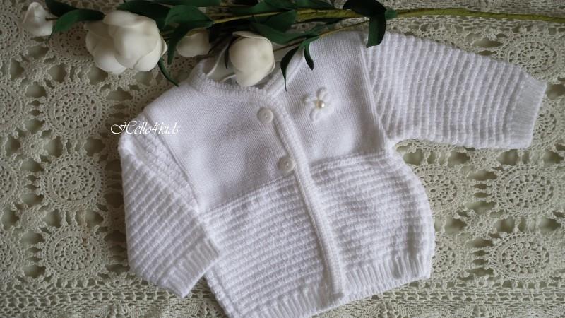 Baby vestje wit met parel