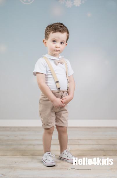 Setje korte broek met bretels Beige