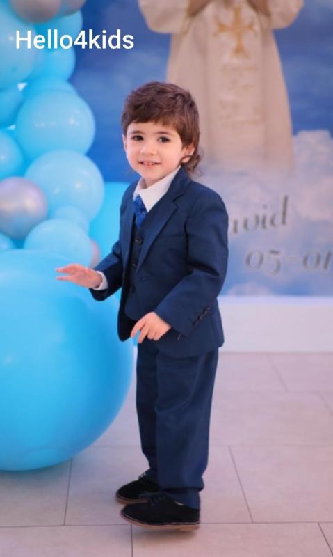 middenblauw  Jongens kostuum bruidsjonker communie feest