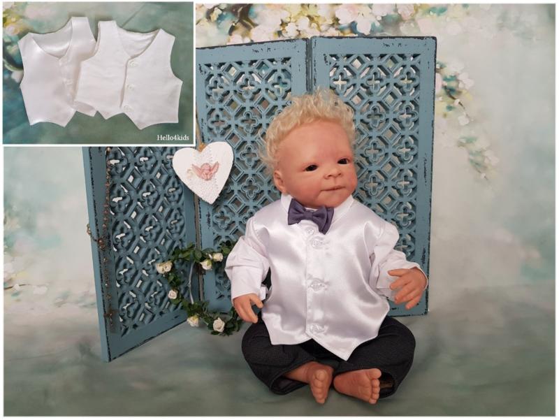 Baby  peuter Gilet wit mat en glanzend