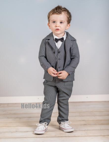 Antraciet met dot baby peuter kostuumpje 29