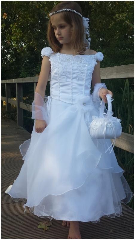 witte bruidsmeisjes communie jurk Rosalinde
