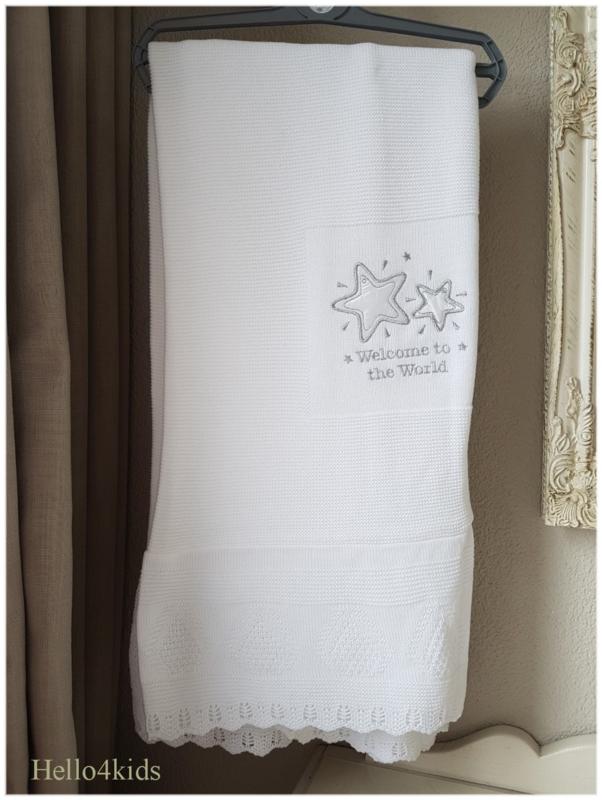 Luxe doop/geboorte  deken Welcome (Met naam en/of Datum)