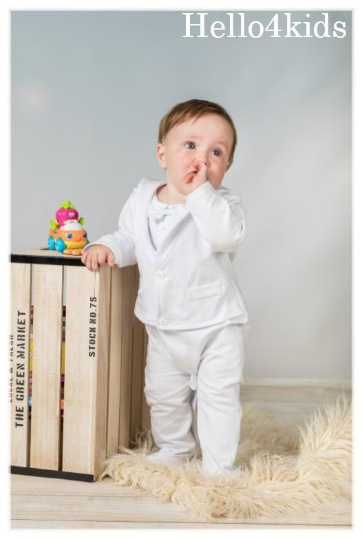 Baby feest smoking romper wit kostuum