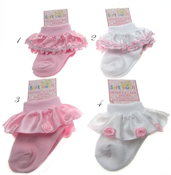 Baby sokjes met kantjes of roosjes (S37)
