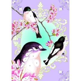 Glitter schilderijtjes, vogels, Djeco