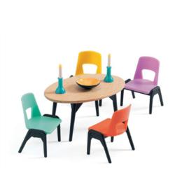 Eetkamer meubels,poppenhuis,  Djeco