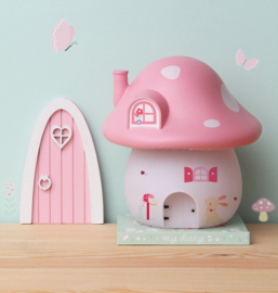Night light mushroom house roze