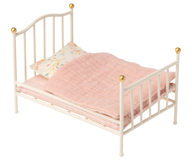 Vintage bed, muis, wit, Maileg