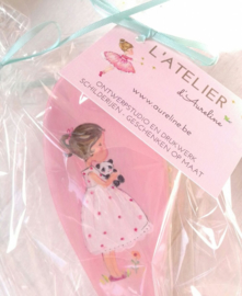 Haarborstel gepersonaliseerd met naam en prinsesje erop of afbeelding naar keuze