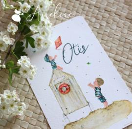 Geboortekaart met illustratie op papier = nieuw ontwerp + ingekaderd