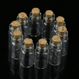 Mini Flesje met Kurk Helder 1 ml (4 stuks)