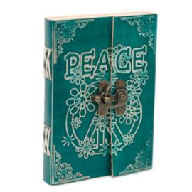 """Lederen Blanco Boek """"Peace"""" 18 cm"""
