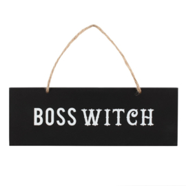 "Houten bordje ""Boss Witch"""
