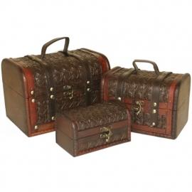 Leren Koffertjes, set van drie