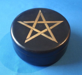 Speksteen Zwart Doosje met Pentagram
