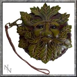 Lederen tasje Green Man groenbruin
