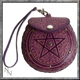 Lederen tasje Pentagram paars