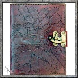 """Lederen Blanco Boek """"Green Man"""" 20 cm"""