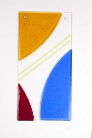 Raam/muurhanger Geel rood blauw met streep