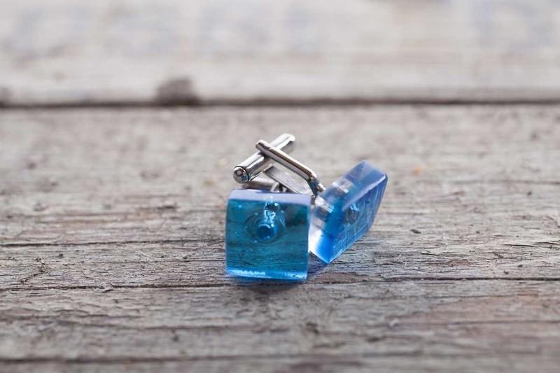 manchetknopen turquoise blue 1116