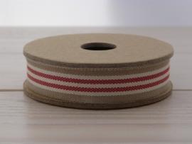 Beige rood wit bandje met strepen