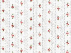 Wit met strepen en roosjes