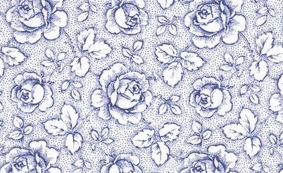 Wit  met blauwe rozen