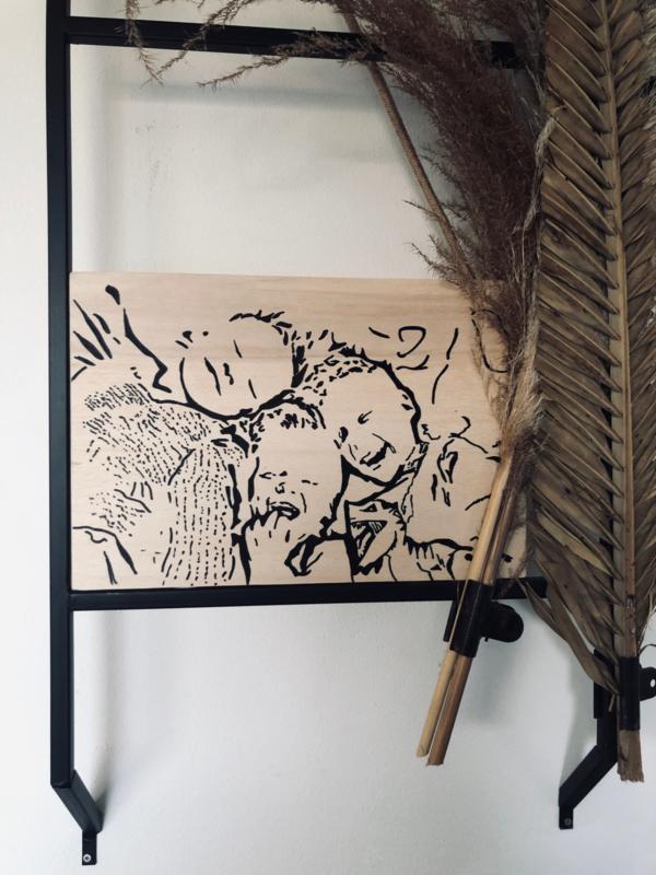 DIY pakket Eigen foto op hout 20x30