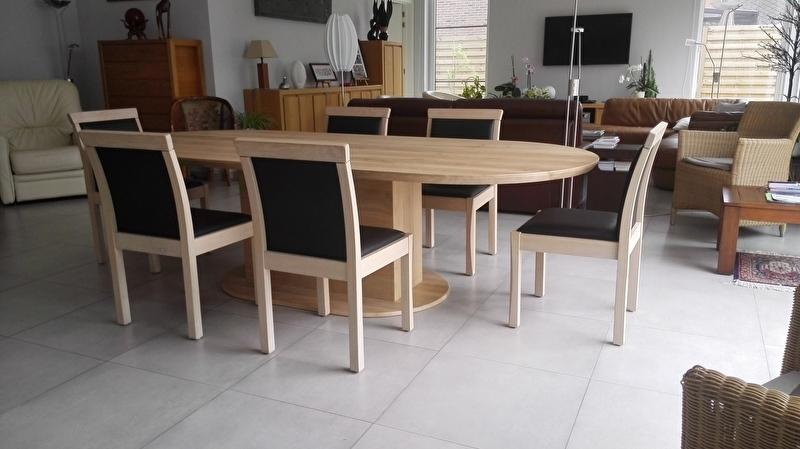 Ovalen eiken tafel op maat