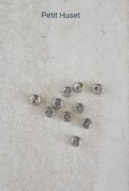 10 Knoopjes zilverkleurig 3 mm