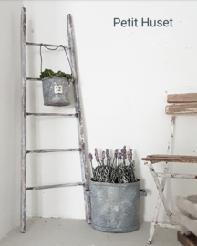 Zinken Plantenpotje met Etiket en Hengsel