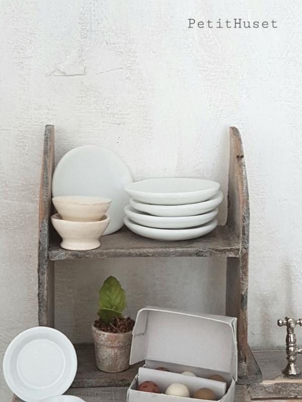 Set van 4 Witte Ontbijtbordjes