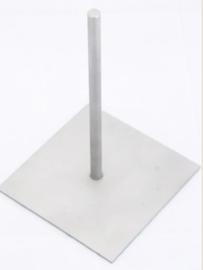 Sokkel RVS plaat met opgelaste pen