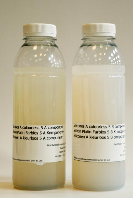 Siliconenrubber additie  5 zeer zacht, direct op de huid, voor delicate vormen 1 liter set