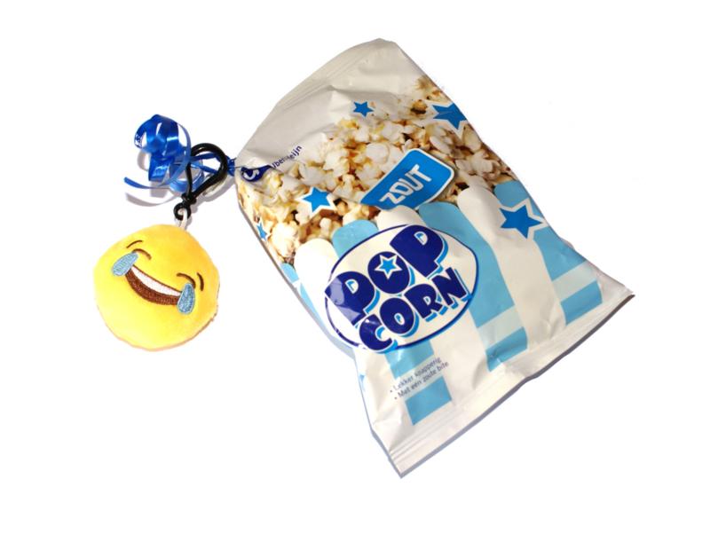 Chips of popcorn met Emoji sleutelhanger (voorraad 30)