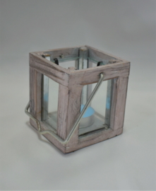 waxine lichthouder hout met glas