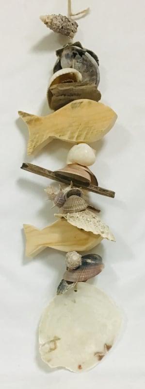 Decoratie slinger met schelpen/vissen